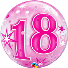 18th Pink Stars Bubble Balloon